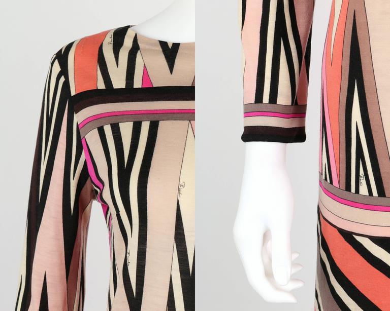 EMILIO PUCCI c.1960's Multicolor Zigzag Signature Print Drop Waist Shift Dress For Sale 2