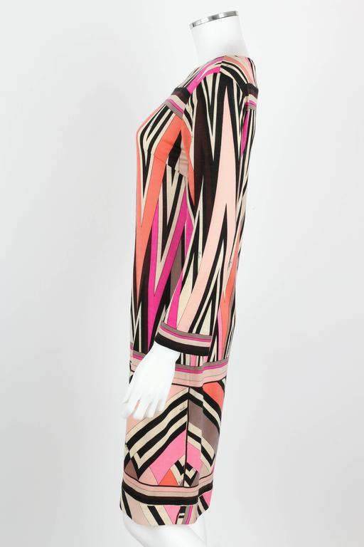 Women's EMILIO PUCCI c.1960's Multicolor Zigzag Signature Print Drop Waist Shift Dress For Sale