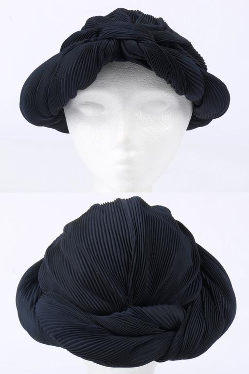 Black MADAME AGNES c.1930's Midnight Navy Blue Plisse Pleat Silk Turban Dinner Hat For Sale