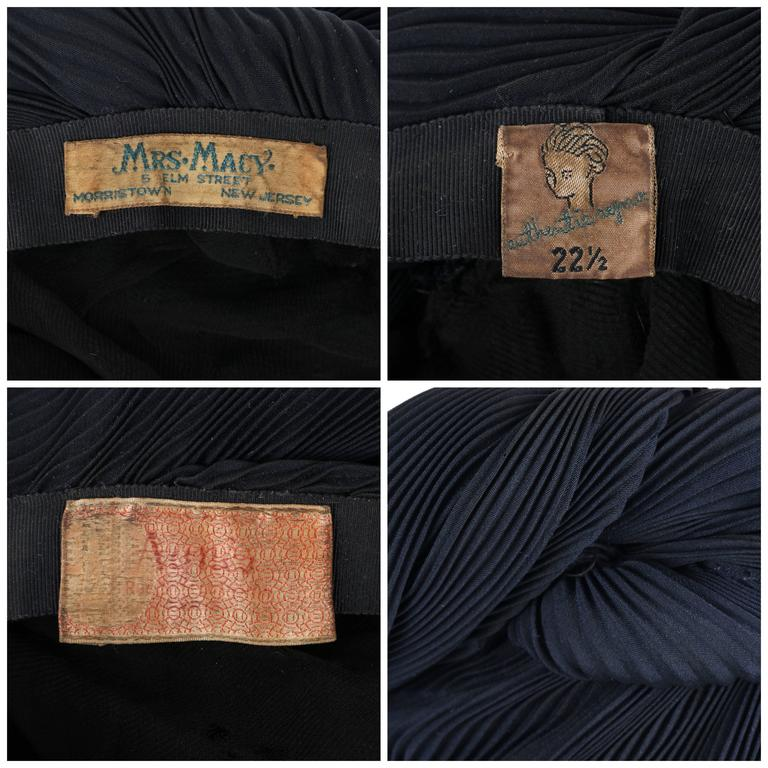 MADAME AGNES c.1930's Midnight Navy Blue Plisse Pleat Silk Turban Dinner Hat For Sale 2