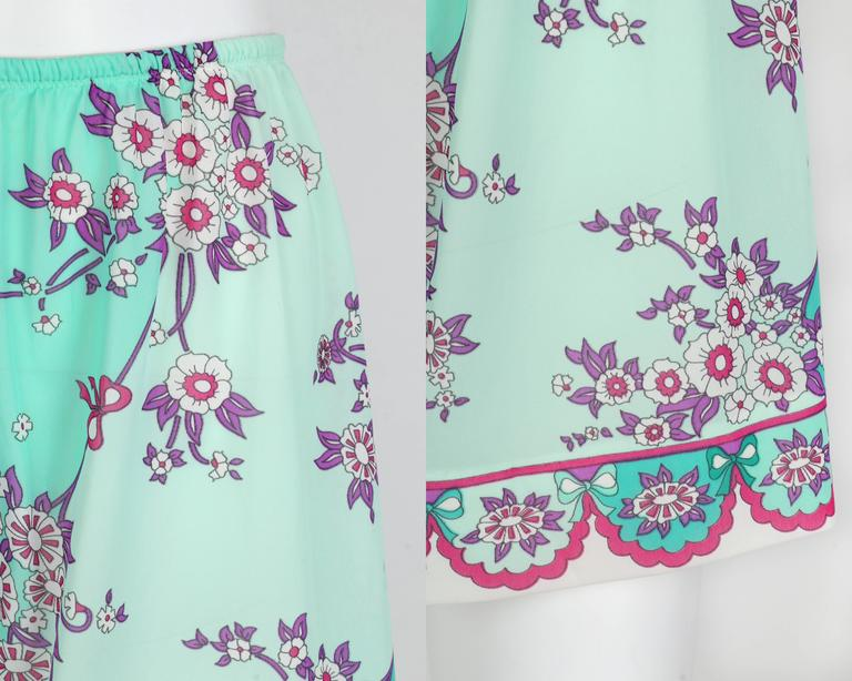 EMILIO PUCCI c.1960's Formfit Rodgers Mint Teal Floral Print Tap Pants Shorts For Sale 3
