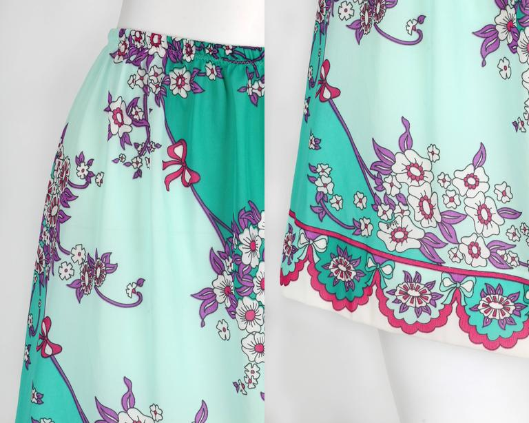 EMILIO PUCCI c.1960's Formfit Rodgers Mint Teal Floral Print Tap Pants Shorts For Sale 2