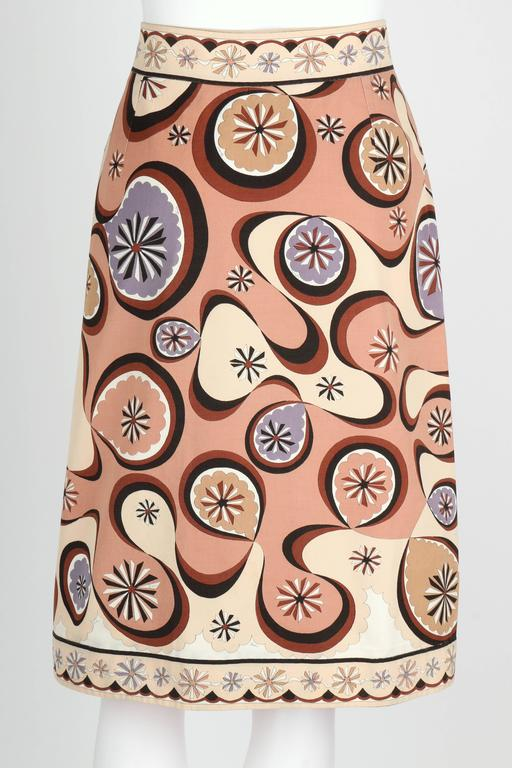 EMILIO PUCCI c.1970's Beige Brown Star Burst Signature Print Cotton Wrap Skirt 4