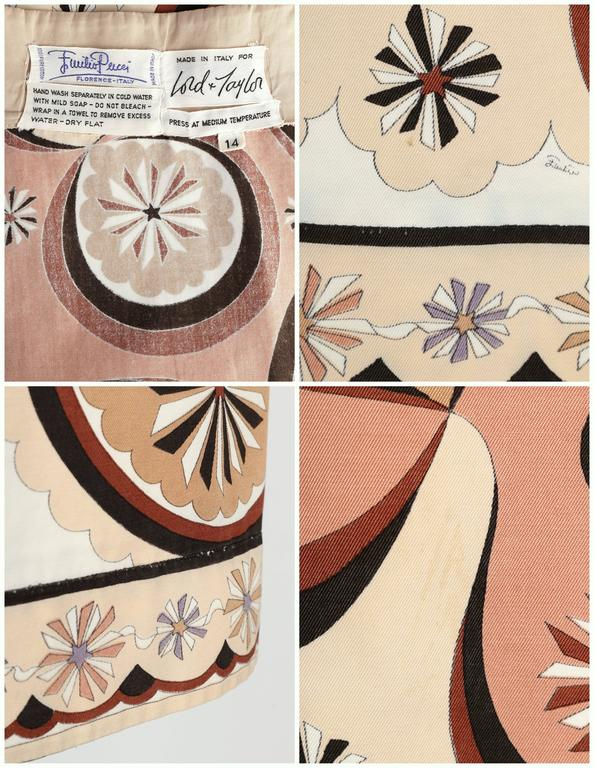 EMILIO PUCCI c.1970's Beige Brown Star Burst Signature Print Cotton Wrap Skirt 10