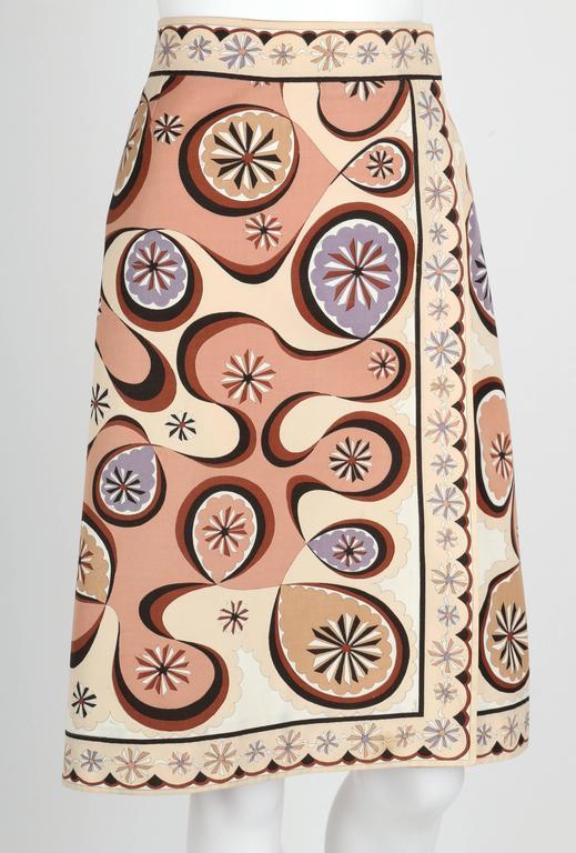 EMILIO PUCCI c.1970's Beige Brown Star Burst Signature Print Cotton Wrap Skirt 2