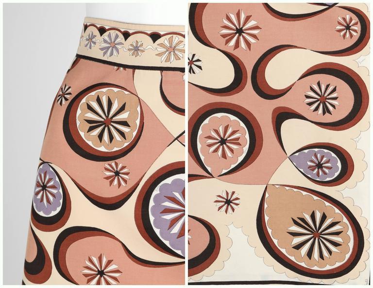 EMILIO PUCCI c.1970's Beige Brown Star Burst Signature Print Cotton Wrap Skirt 7