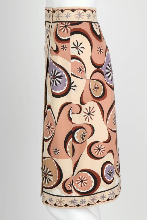 EMILIO PUCCI c.1970's Beige Brown Star Burst Signature Print Cotton Wrap Skirt 5