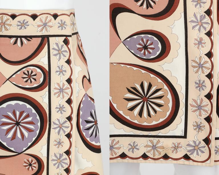 EMILIO PUCCI c.1970's Beige Brown Star Burst Signature Print Cotton Wrap Skirt 8