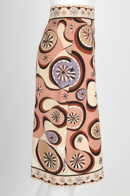 EMILIO PUCCI c.1970's Beige Brown Star Burst Signature Print Cotton Wrap Skirt 3