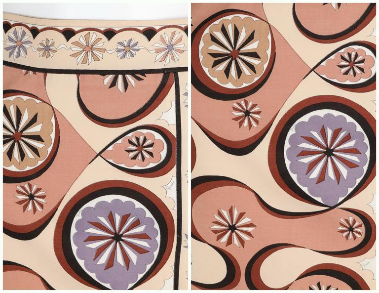 EMILIO PUCCI c.1970's Beige Brown Star Burst Signature Print Cotton Wrap Skirt 6