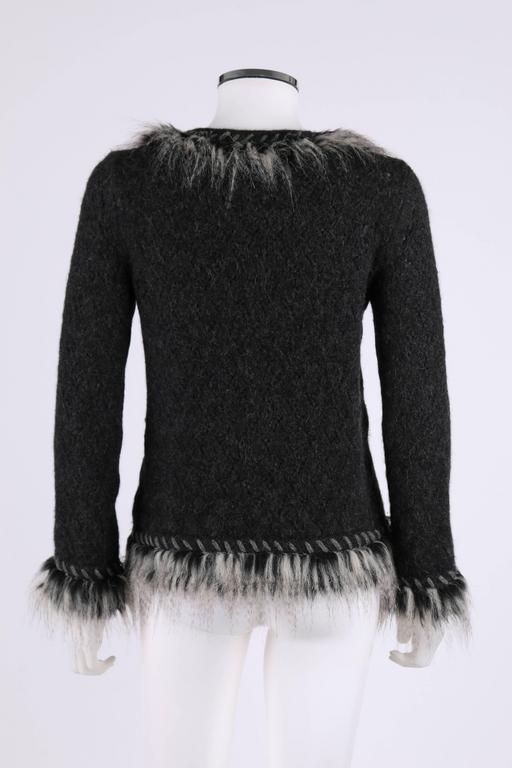 Women's CHANEL Gray Alpaca Cashmere Knit Fringe Fur Zip Front Cardigan Sweater Jacket For Sale