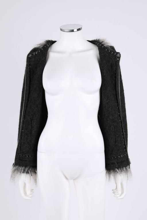 CHANEL Gray Alpaca Cashmere Knit Fringe Fur Zip Front Cardigan Sweater Jacket For Sale 2