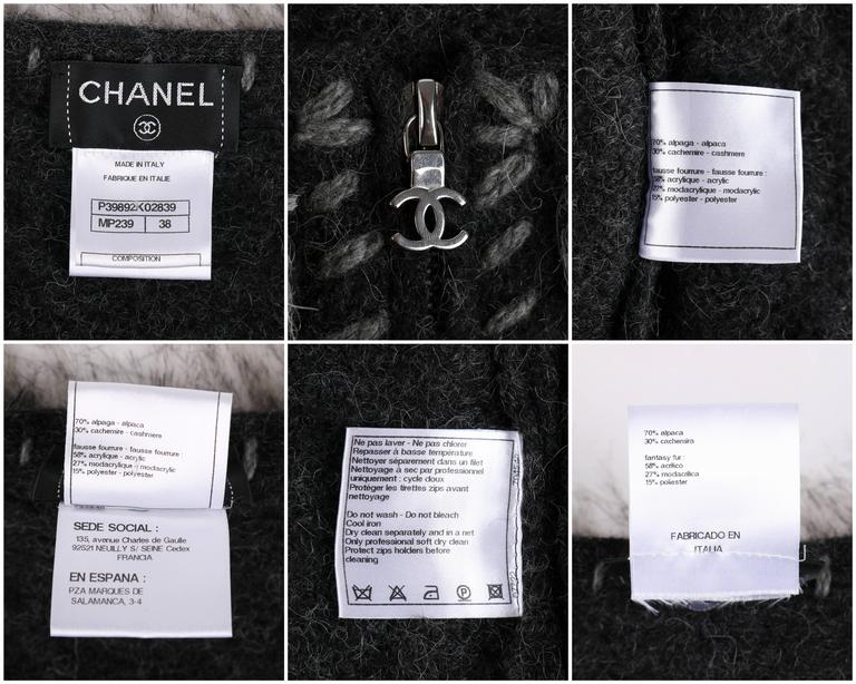 CHANEL Gray Alpaca Cashmere Knit Fringe Fur Zip Front Cardigan Sweater Jacket For Sale 6
