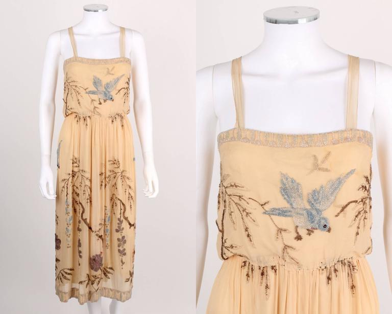 SADIE NEMSER c.1920's Cream Floral Bird Bead Embellished Silk Evening Dress  2