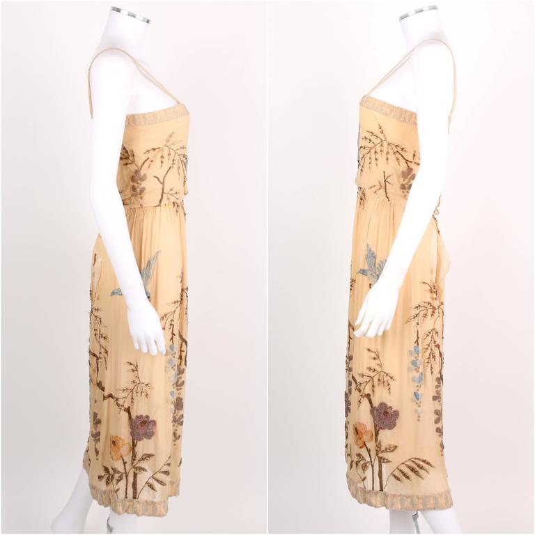 SADIE NEMSER c.1920's Cream Floral Bird Bead Embellished Silk Evening Dress  3