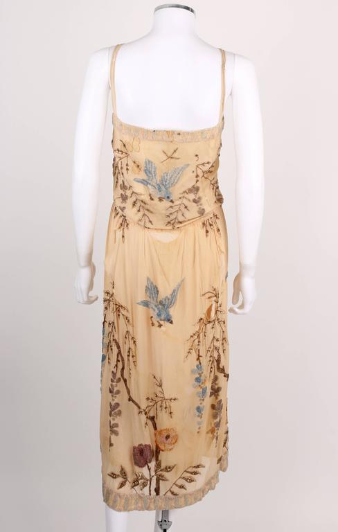 SADIE NEMSER c.1920's Cream Floral Bird Bead Embellished Silk Evening Dress  4