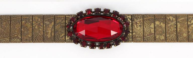 VICTORIAN REVIVAL c.1930's Bronze Mesh Floral Link Faceted Ruby Red Jeweled Belt 3