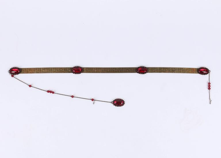 Women's VICTORIAN REVIVAL c.1930's Bronze Mesh Floral Link Faceted Ruby Red Jeweled Belt For Sale
