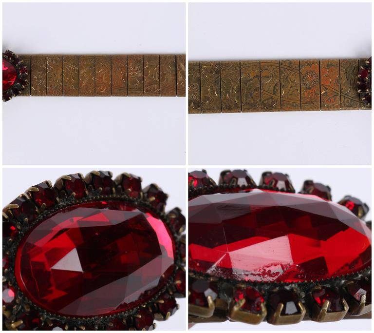 VICTORIAN REVIVAL c.1930's Bronze Mesh Floral Link Faceted Ruby Red Jeweled Belt 10