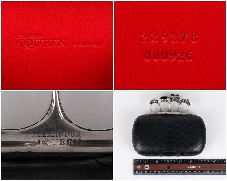 ALEXANDER MCQUEEN S/S 2010 Black Genuine Python Skull Knuckle Duster Box Clutch 5