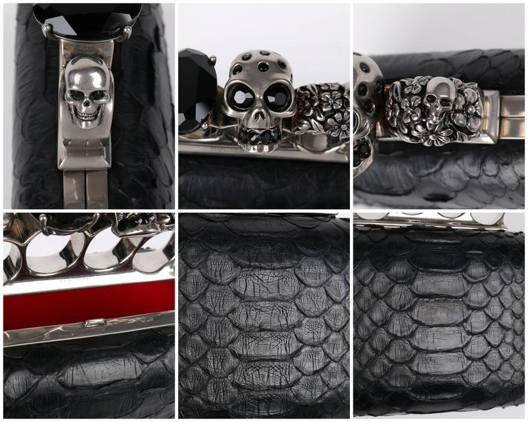 ALEXANDER MCQUEEN S/S 2010 Black Genuine Python Skull Knuckle Duster Box Clutch For Sale 6