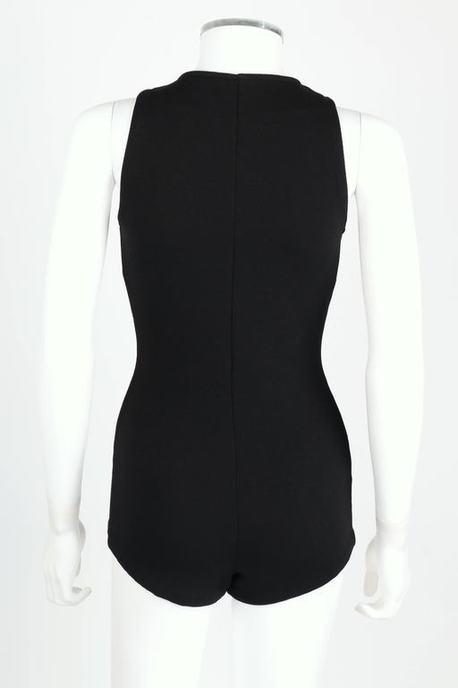 DONALD BROOKS For Sinclair c.1960's Black Plunging Bathing Suit Playsuit Romper 4