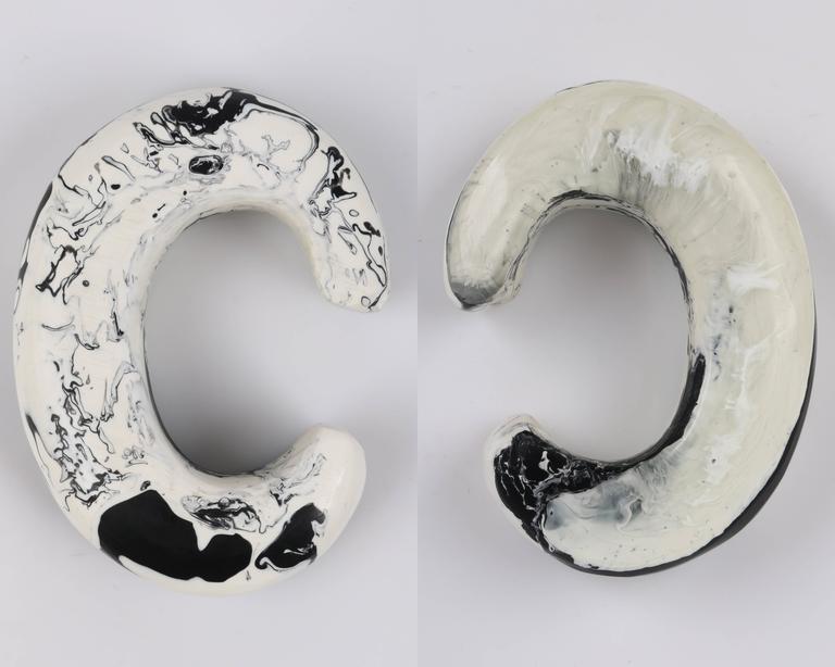 CARA CRONINGER c.2003 Resin Acrylic Black White Sculpted Artwear Cuff Bracelet 5