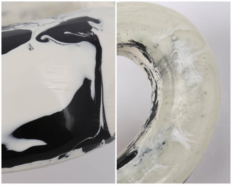 CARA CRONINGER c.2003 Resin Acrylic Black White Sculpted Artwear Cuff Bracelet 10