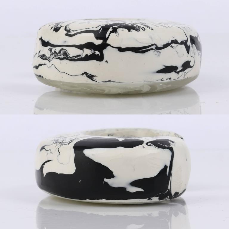 CARA CRONINGER c.2003 Resin Acrylic Black White Sculpted Artwear Cuff Bracelet 7