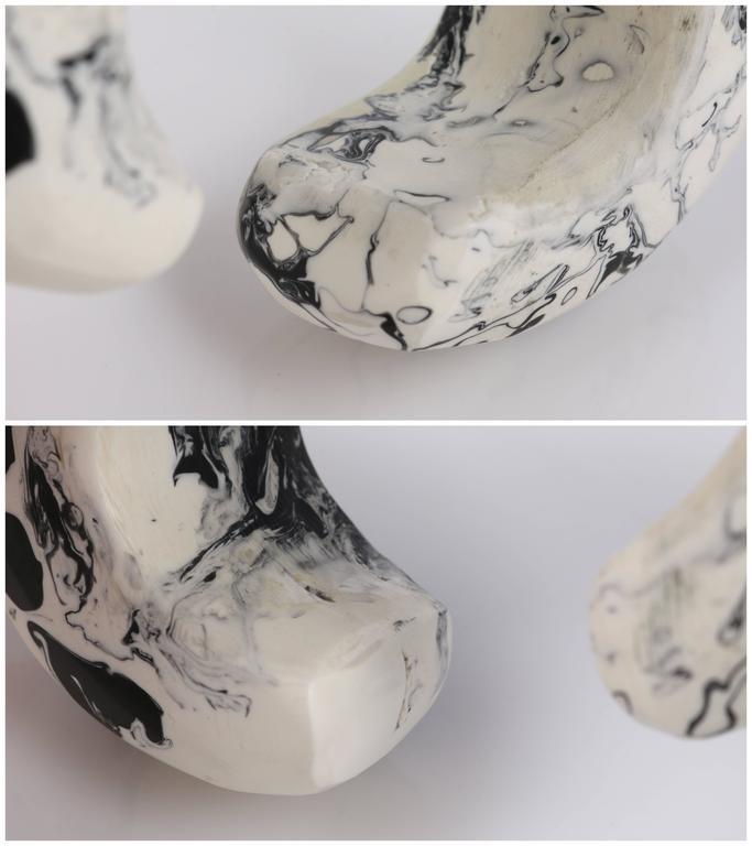 CARA CRONINGER c.2003 Resin Acrylic Black White Sculpted Artwear Cuff Bracelet 9