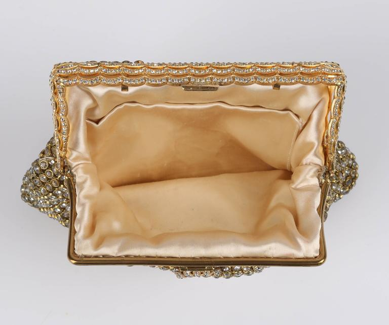 c.1950's Gold Rhinestone Mesh Scalloped Edge Detail Evening Bag Clutch Purse 5