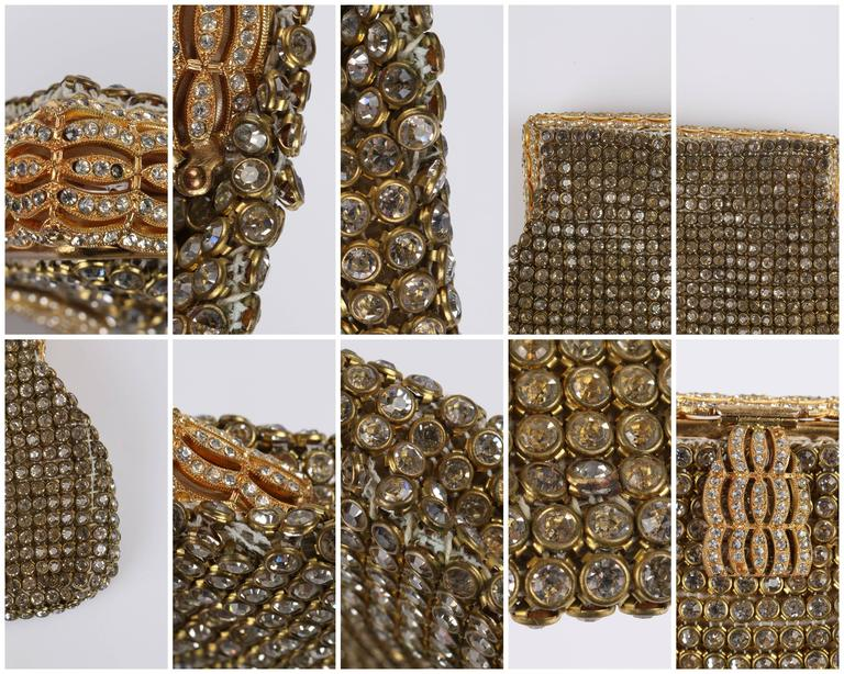 c.1950's Gold Rhinestone Mesh Scalloped Edge Detail Evening Bag Clutch Purse 10