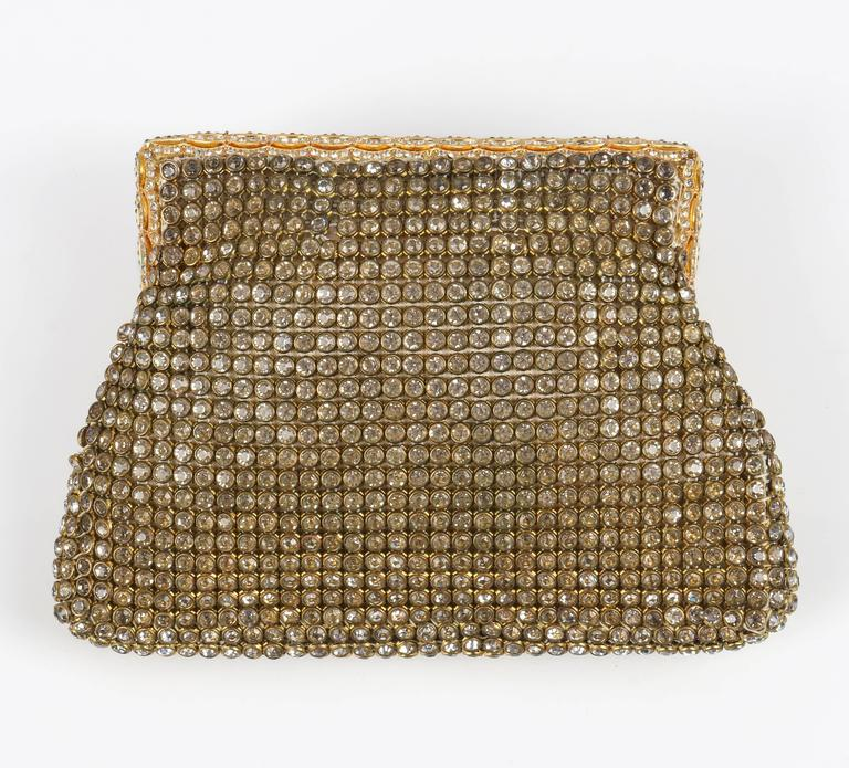 c.1950's Gold Rhinestone Mesh Scalloped Edge Detail Evening Bag Clutch Purse 2