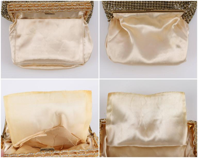 c.1950's Gold Rhinestone Mesh Scalloped Edge Detail Evening Bag Clutch Purse 7