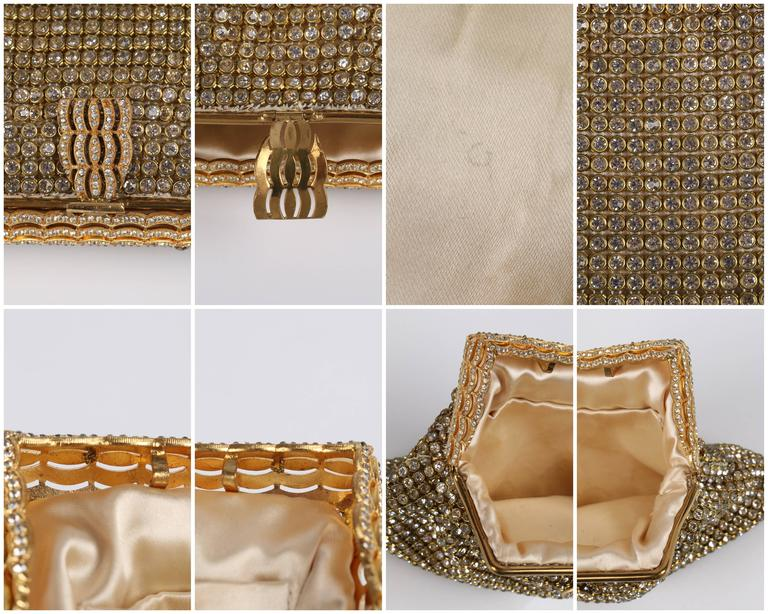 c.1950's Gold Rhinestone Mesh Scalloped Edge Detail Evening Bag Clutch Purse 6