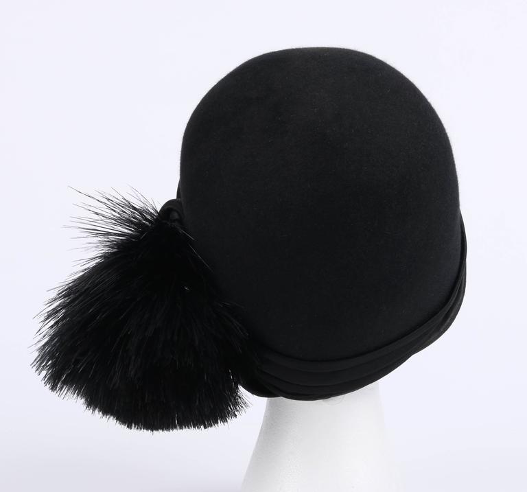 BELART Paris c.1920's Black Wool Felt Satin Feather Pom Pom Flapper Cloche Hat 4