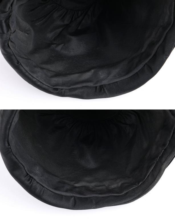 BELART Paris c.1920's Black Wool Felt Satin Feather Pom Pom Flapper Cloche Hat 7