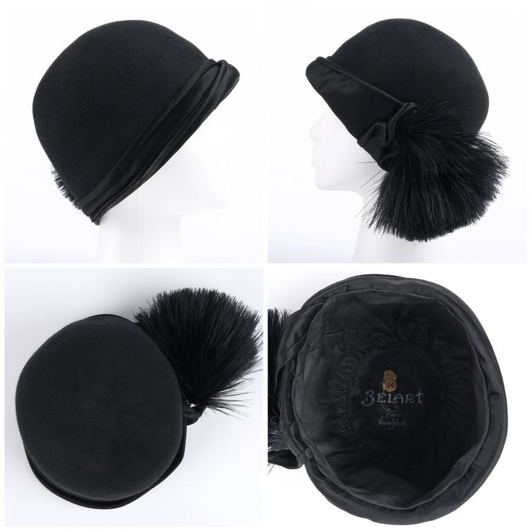 BELART Paris c.1920's Black Wool Felt Satin Feather Pom Pom Flapper Cloche Hat 3