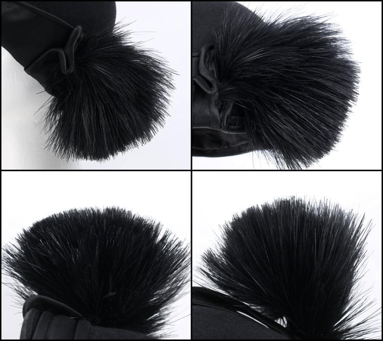 BELART Paris c.1920's Black Wool Felt Satin Feather Pom Pom Flapper Cloche Hat 6