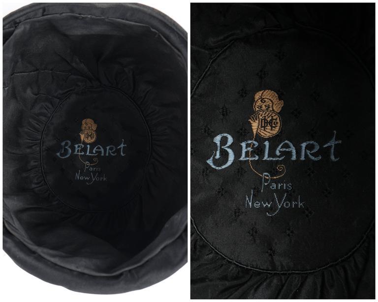 BELART Paris c.1920's Black Wool Felt Satin Feather Pom Pom Flapper Cloche Hat 5
