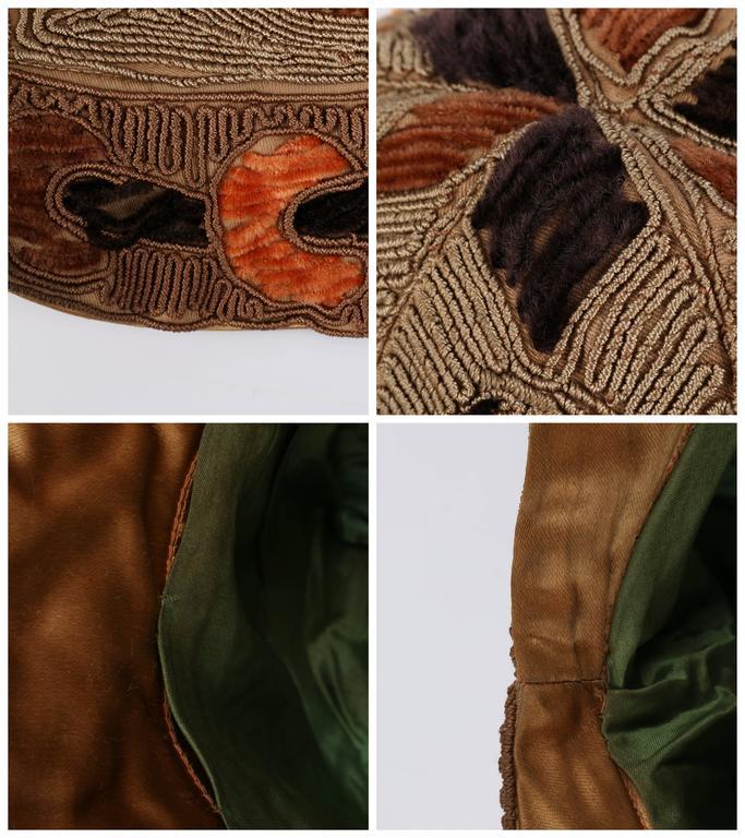 RICH ART MODELS c.1920's Gold Bronze Chenille Silk Corded Flapper Cloche Hat For Sale 6