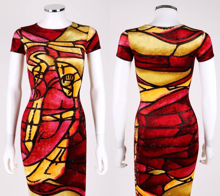CHRISTIAN DIOR c.1990's JOHN GALLIANO Stained Glass Print Velvet Bodycon Dress For Sale 1