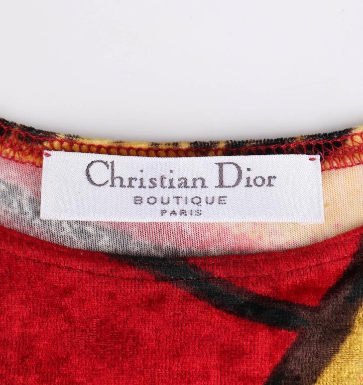 CHRISTIAN DIOR c.1990's JOHN GALLIANO Stained Glass Print Velvet Bodycon Dress For Sale 3