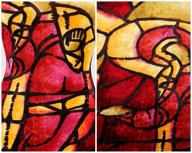 CHRISTIAN DIOR c.1990's JOHN GALLIANO Stained Glass Print Velvet Bodycon Dress For Sale 2