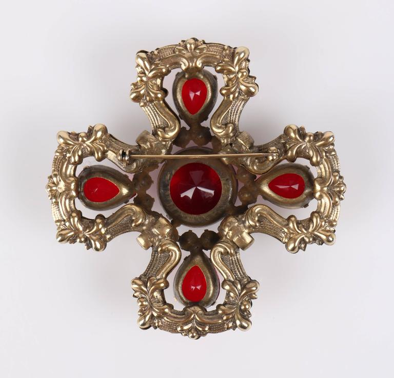 c.1940's Maltese Cross Brass Ruby Red Faceted Cut Glass Open Work Brooch Pin 3