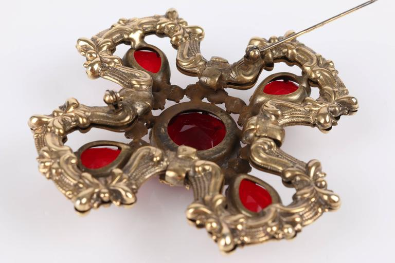 c.1940's Maltese Cross Brass Ruby Red Faceted Cut Glass Open Work Brooch Pin 9