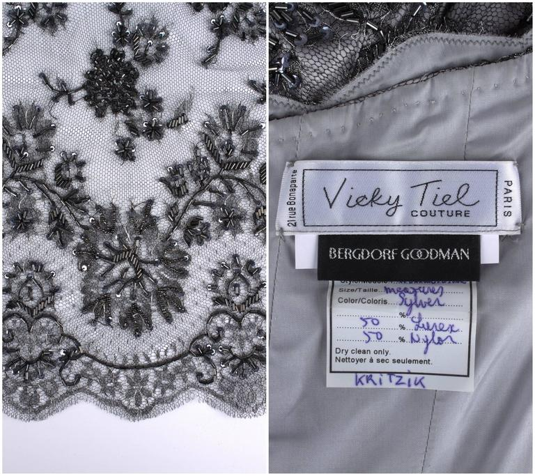VICKY TIEL COUTURE c.1990s 2pc Silver Beaded Lace Corset Evening Gown Jacket Set For Sale 6