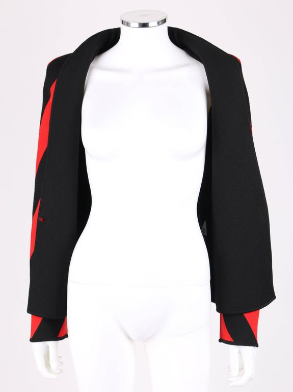 GIVENCHY COUTURE A/W 1998 ALEXANDER McQUEEN Black Red Stripe Wool Knit Blazer  6
