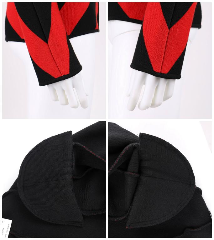 GIVENCHY COUTURE A/W 1998 ALEXANDER McQUEEN Black Red Stripe Wool Knit Blazer  8