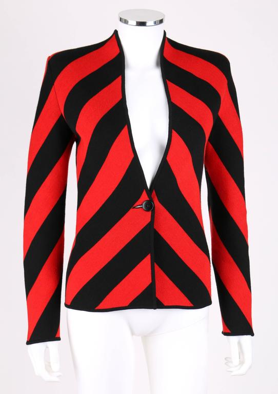 GIVENCHY COUTURE A/W 1998 ALEXANDER McQUEEN Black Red Stripe Wool Knit Blazer  2